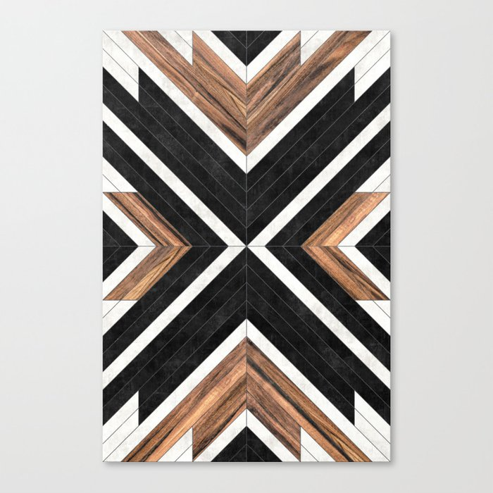 Urban Tribal Pattern No.1 - Concrete and Wood Leinwanddruck