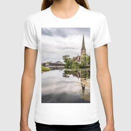 Church in Copenhagen reflections on lake at sunset T-shirt