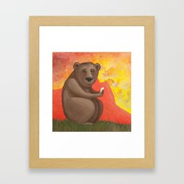 Connect (Does a bear text in the woods?) Framed Art Print