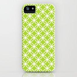 Green and white interlocking circles iPhone Case