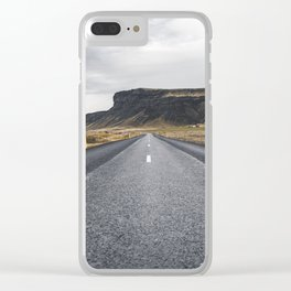 Icelandic Road to Mountains, Landscape Wilderness Adventure Highway Clear iPhone Case