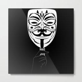 Guy Fawkes Sugar Skull Metal Print