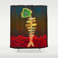 selena gomez Shower Curtains featuring Fish-Bone by Menchulica
