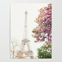 Cherry blossoms in Paris, Eiffel Towerr Poster