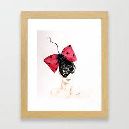 Debry Hat. Black Lace Head Piece. Framed Art Print