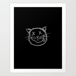 cat cartoon face Art Print