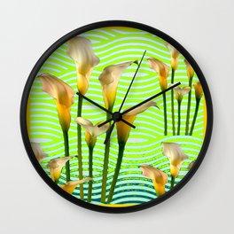 Golden Shaded Calla Lily Green Art Wall Clock