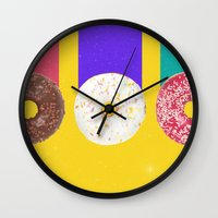 donuts Wall Clocks featuring Donuts by Danny Ivan