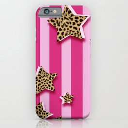 Pink Stripes With Cheetah Fur Stars iPhone Case