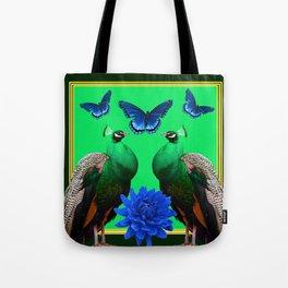 BLUE BUTTERFLIES & GREEN PEACOCKS FLORAL Tote Bag