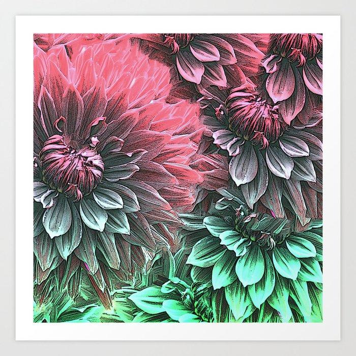 Aqua Fuchsia Floral Art Print