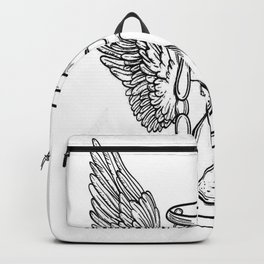 Winged hourglass, skull art, custom gift design Backpack