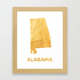 Alabama map outline Sunny yellow watercolor Framed Art Print