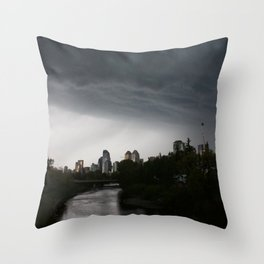 Storm clouds over Calgary and the Stampede grounds Throw Pillow