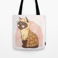 nan lawson Tote Bags featuring Hip Cat by Nan Lawson