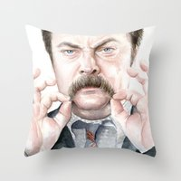 swanson Throw Pillows featuring Swanson Mustache by Olechka