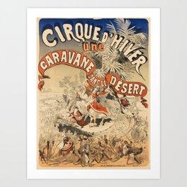 retro cirque dhiver   une caravane dans le désert. 1876  Art Print