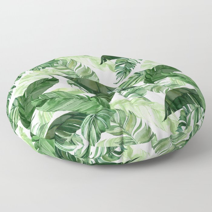 Green leaf watercolor pattern Floor Pillow