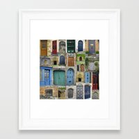doors Framed Art Prints featuring doors by Cathy Jacobs