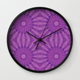 Purple Pinwheel flowers Wall Clock
