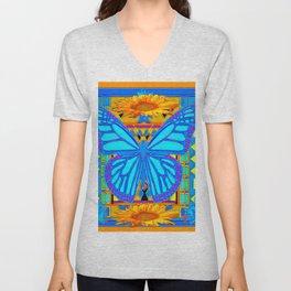 Baby Blues Butterfly Gold Art Unisex V-Neck