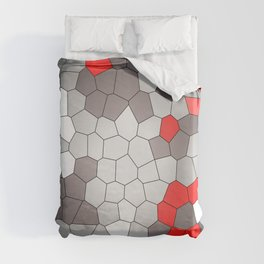 Mosaik grey white red Graphic Duvet Cover