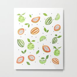 Papaya & Custard Apple Metal Print