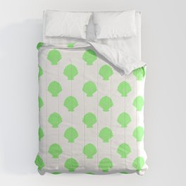 Seashells (Light Green & White Pattern) Comforters