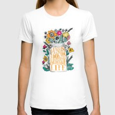 ALWAYS LOOK ON THE BRIGHT SIDE... LARGE Womens Fitted Tee White