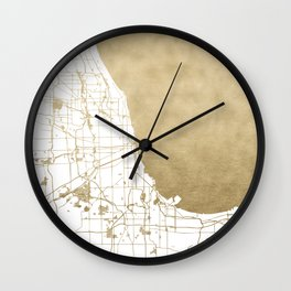 Chicago Gold and White Map Wall Clock