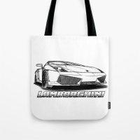lamborghini Tote Bags featuring Lamborghini line drawing by JT Digital Art