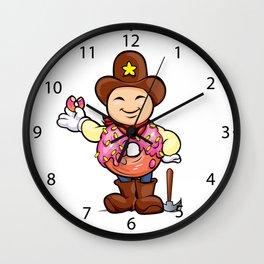 prospector donut cartoon Wall Clock