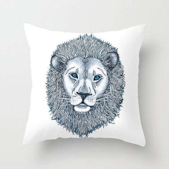 Blue Eyed Lion Throw Pillow