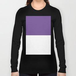 White and Dark Lavender Violet Horizontal Halves Long Sleeve T-shirt