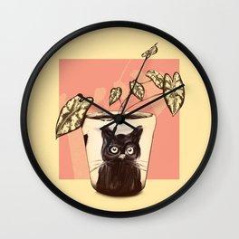 Black cat painting Wall Clock
