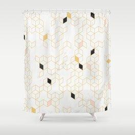 Keziah - Gold & Marble Shower Curtain