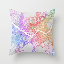 Seoul City Map of South Korea - Colorful Throw Pillow