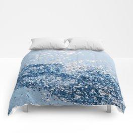 Sparkling Classic Blue Ocean Lady Glitter #1 (Faux Glitter) #shiny #decor #art #society6 Comforters
