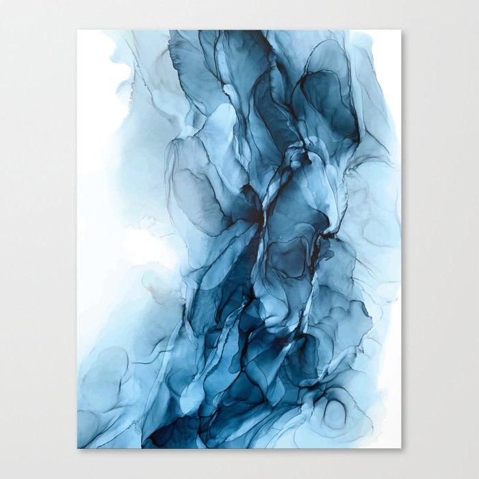 Deep Blue Flowing Water Abstract Painting Canvas Print By Elizabethschulz