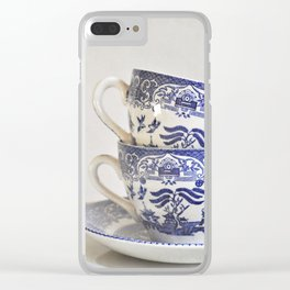 Blue and white stacked china. Clear iPhone Case