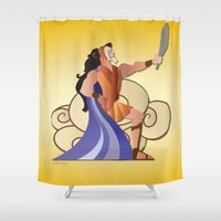 hercules Shower Curtains featuring Leo - Hercules by AmadeuxArt