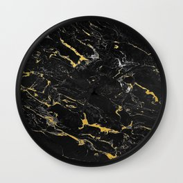 Gold Flecked Black Marble Wall Clock