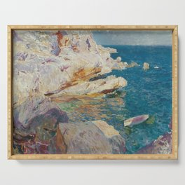 Joaquin Sorolla Y Bastida - Rocks at Javea. The white boat Serving Tray