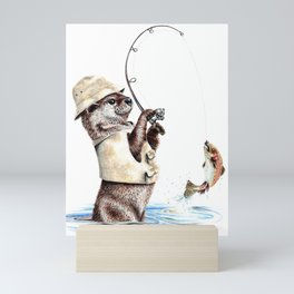 """ Natures Fisherman "" fishing river otter with trout Mini Art Print"