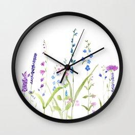 purple blue wild flowers watercolor painting Wall Clock