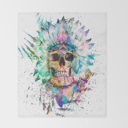 SKULL - WILD SPRIT Throw Blanket