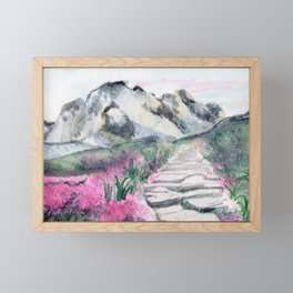 Flower Path and Mountains Framed Mini Art Print
