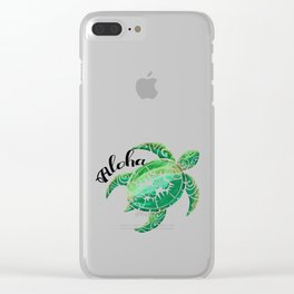 Vintage Hawaiian Distressed Turtle Clear iPhone Case