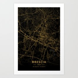 Brescia, Italy - Gold Art Print