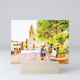 Teramo: elderly men and women seated in the cathedral square Mini Art Print